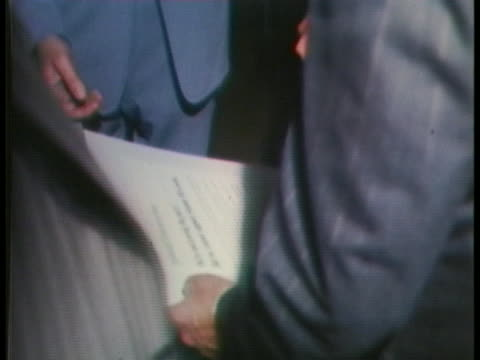john connally meets with aides leonard marx and george christian after announcing the creation of the democrats for nixon committee - john connally stock videos & royalty-free footage