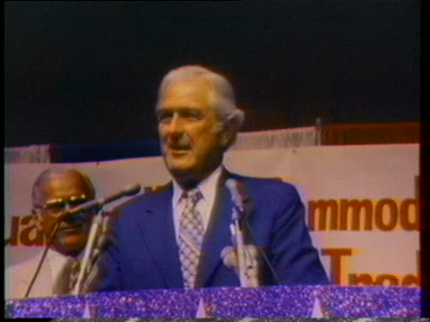 john connally speaks to a farm group and gop officials about his endorsement of gerald ford before the presidential election of 1976 - john connally stock videos & royalty-free footage