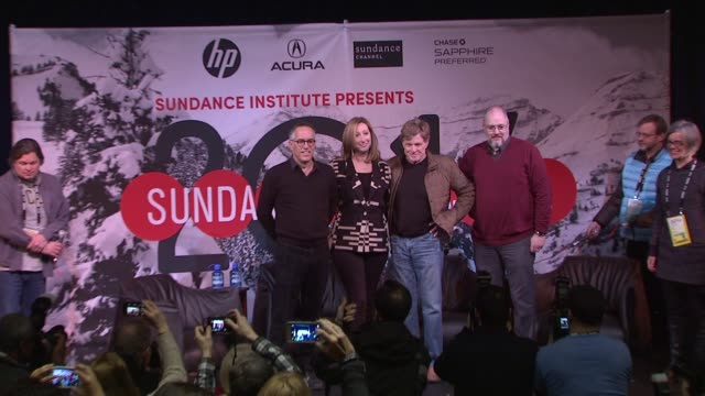 john cooper keri putnam robert redford sean p means at day one press conference 2014 sundance film festival at egyptian theatre on in park city utah - park city utah video stock e b–roll