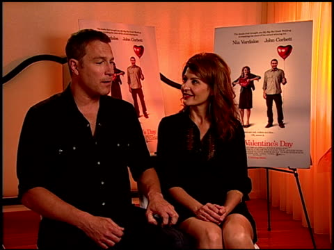 john corbett and nia vardalos on being a dad at the 'i hate valentine's day' junket at los angeles ca - john corbett stock videos and b-roll footage