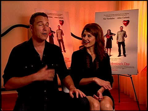 john corbett and nia vardalos on how proud john is of nia's talents and much nia enjoyed directing at the 'i hate valentine's day' junket at los... - john corbett stock videos and b-roll footage