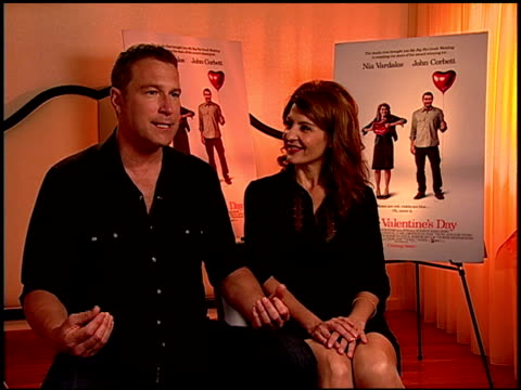john corbett and nia vardalos on john being a gentleman at the 'i hate valentine's day' junket at los angeles ca - john corbett stock videos and b-roll footage