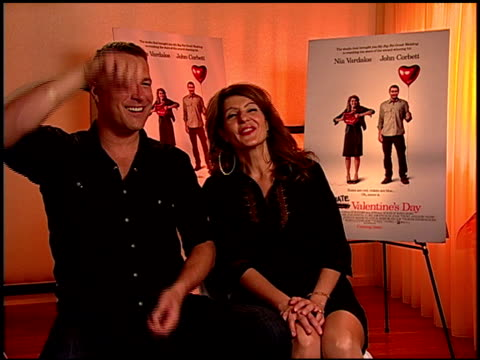 john corbett and nia vardalos on working together again and their big kissing scene at the 'i hate valentine's day' junket at los angeles ca - john corbett stock videos and b-roll footage