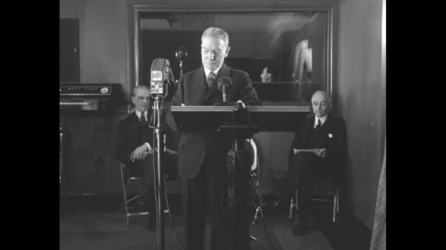 vs john d rockefeller jr at podium in nbc studio waits to make endorsement / cu his face as he waits he speaks surely in this nation there is the... - census stock videos & royalty-free footage
