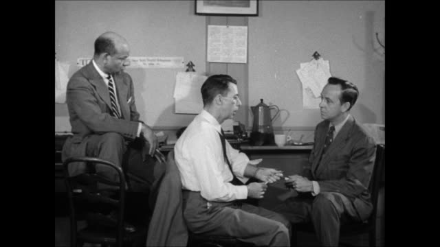 john daly interviews reporters earl brown of life magazine and ed mowery of the new york worldtelegram about the teenage drug problem - telegram stock videos & royalty-free footage