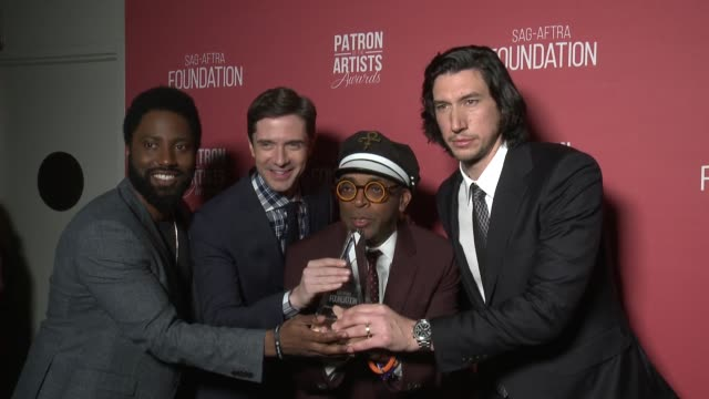 john david washington, topher grace, spike lee, adam driver at the sag-aftra foundation's 3rd annual patron of the artists awards at wallis annenberg... - topher grace stock videos & royalty-free footage
