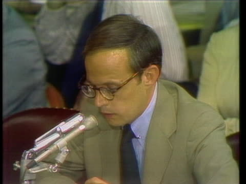 john dean testifies during the watergate hearings on capitol hill. - resignation of richard nixon stock videos & royalty-free footage