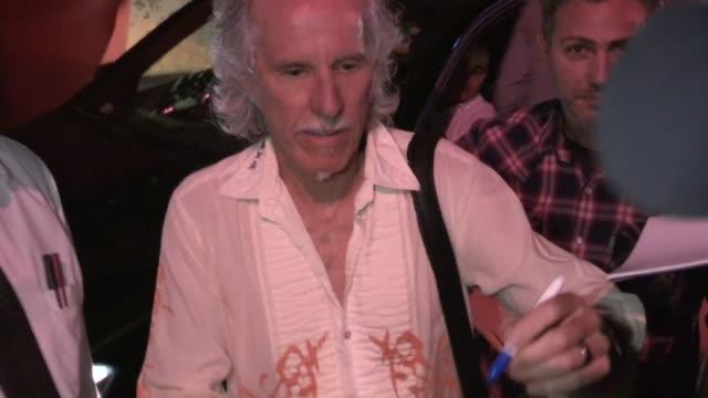 john densmore greets fans at the mondrian hotel in west hollywood, 08/17/12 - モンドリアンホテル点の映像素材/bロール