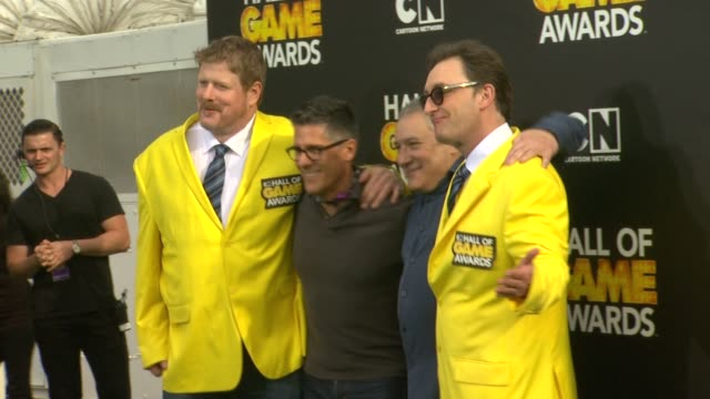 john dimaggio and tom kenny at cartoon network hosts fourth annual hall of game awards at barker hangar on february 15, 2014 in santa monica,... - barker hangar stock videos & royalty-free footage