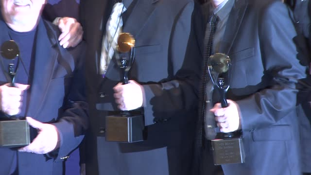 john durrill don wilson nokie edwards leon taylor and bob spalding of the ventures at the 23rd annual rock and roll hall of fame induction ceremony... - hall of fame stock videos and b-roll footage