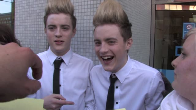 John Edward Grimes AKA 'Jedward' leave GMTV studios on the south bank London after performing live in the studio to promote their current hit 'Ice...
