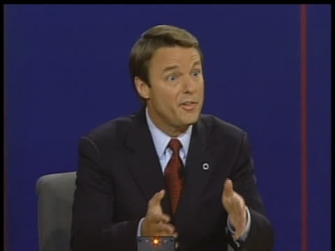 john edwards claims dick cheney is not being straight with the american people during a 2004 vice presidential debate. - dick cheney stock videos & royalty-free footage