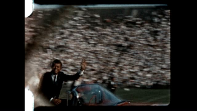 stockvideo's en b-roll-footage met john f kennedy and lyndon johnson arriving for the final day of the 1960 democratic national convention at the los angeles coliseum / jfk would give... - presidentsverkiezing