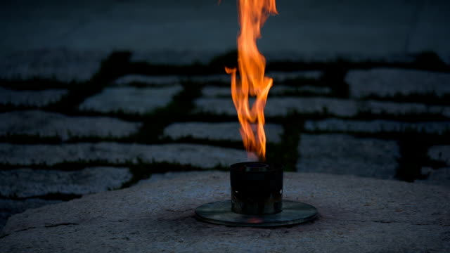 john f kennedy eternal flame slow pan - arlington virginia stock videos and b-roll footage