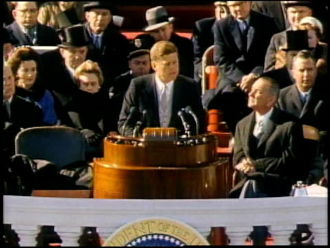john f kennedy giving inaugural speech after being sworn in / washington district of columbia united states - inauguration into office stock videos & royalty-free footage