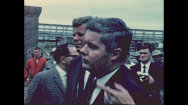 of john f. kennedy looking at his supporters while campaigning for his presidency at the sioux city, iowa stockyards in 1959. ethel kennedy can be... - ethel kennedy stock videos & royalty-free footage