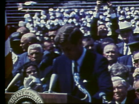 John F Kennedy making speech about going to Moon