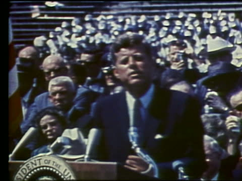 John F Kennedy making speech about going to the Moon