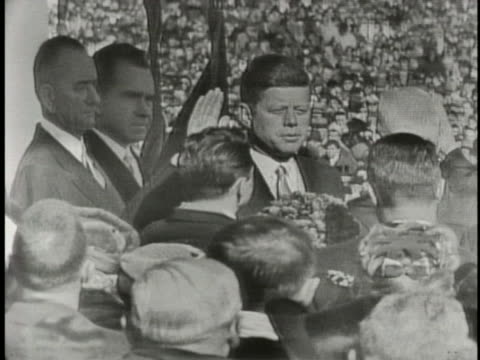 john fitzgerald kennedy is sworn in as president of the united states. - john f. kennedy us president stock videos & royalty-free footage