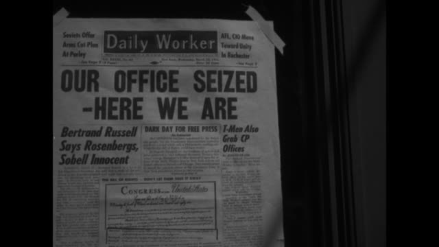 john gates editor in chief of the daily worker a communist newspaper interviewed by reporter with long microphone / vs front page of daily worker... - ethel rosenberg stock videos & royalty-free footage
