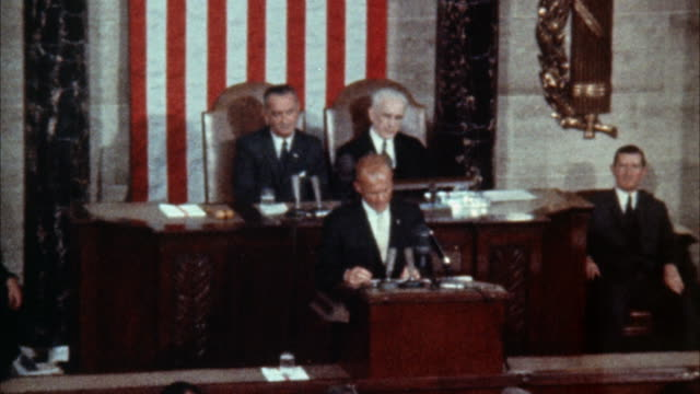 ws zi john glenn at podium addressing congress - politics stock videos & royalty-free footage