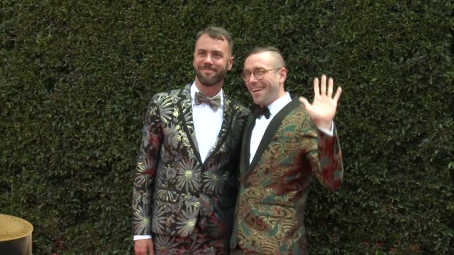John Halbach and Kit Williamson at the 2018 Daytime Emmy Awards at Pasadena Civic Auditorium on April 29 2018 in Pasadena California