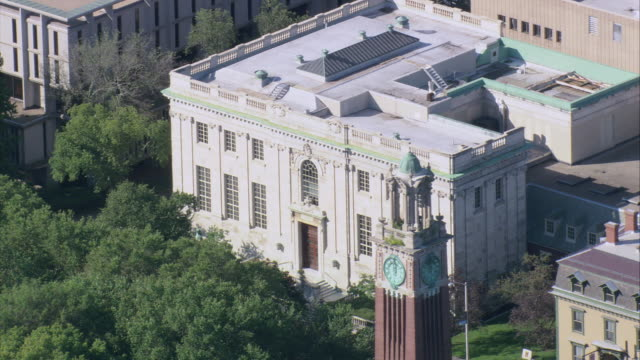 AERIAL John Hay Library on the campus of Brown University / Providence, Rhode Island, United States