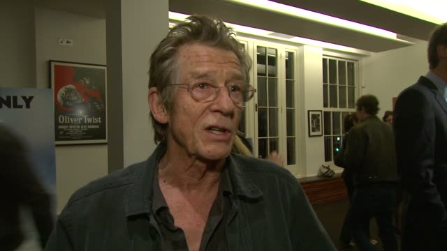 john hurt on what ricky gervais' talent is, on whether actors lie � he says they are pioneers of the truth � and whether he's any good at poker at... - ricky gervais stock videos & royalty-free footage