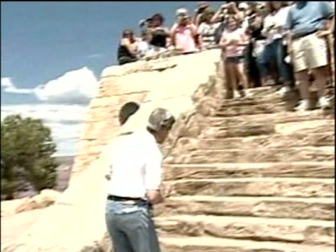 john kerry and wife teresa heinz walk up steps to greet supporters on visit to grand canyon; aug 04 - grand canyon stock videos & royalty-free footage