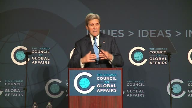 WGN John Kerry at an event at the Chicago Council on Global Affairs on Oct 26 2016