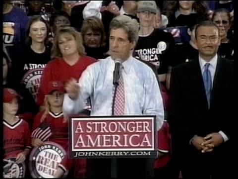 POOL Senator John Kerry speech SOT we are here today in rain in Ohio to bring bring back America's dream again and let America be America again