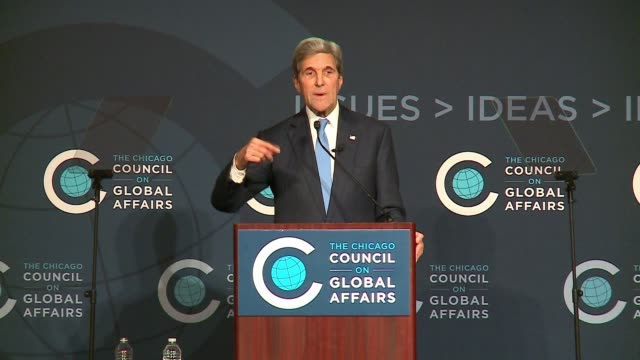 WGN John Kerry Explains Efforts of The Paris Agreement Tackling Global Warming at an event at the Chicago Council on Global Affairs on Oct 26 2016