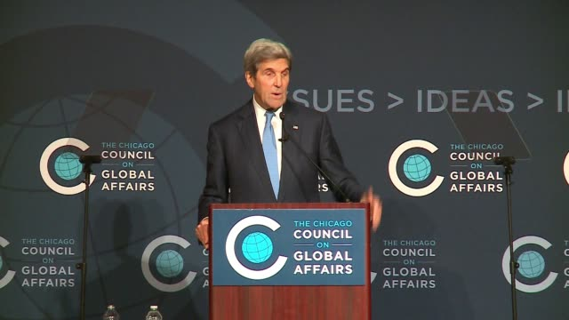WGN John Kerry Talks Importance of International Cooperation in Creating Iran Deal at an event at the Chicago Council on Global Affairs on Oct 26 2016