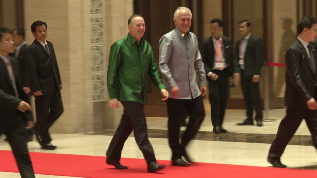 john key and malcolm turnbull arrive for a welcome dinner during the association of southeast asian nations summit the laotian capital vientiane. - association of southeast asian nations stock videos & royalty-free footage