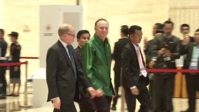 john key new zealand pm arrives for a welcome dinner during the association of southeast asian nations summit the laotian capital vientiane - association of southeast asian nations stock videos & royalty-free footage