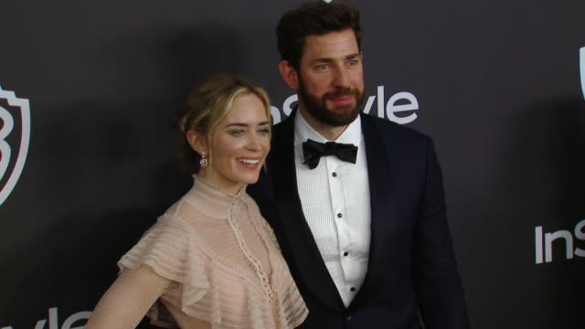 john krasinski and emily blunt at the warner bros and instyle host 20th annual postgolden globes party at the beverly hilton hotel on january 06 2019... - warner bros stock videos & royalty-free footage