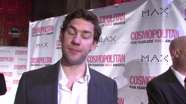 john krasinski on being honored with cosmopolitan's fun fearless male award his movie projects and on directing a movie at the cosmopolitan presents... - john krasinski stock videos and b-roll footage