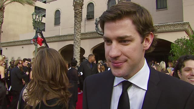 john krasinski on the event if he ever practiced an award speech who he's cheering for at the 2007 screen actors guild sag awards at the shrine... - john krasinski stock videos and b-roll footage