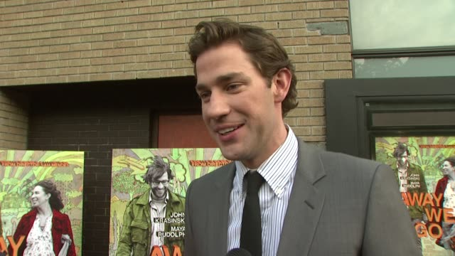 john krasinski talking about getting the call from sam mendes, his character burt, burt and verona's relationship, working with maya, the benefits of... - sam mendes stock videos & royalty-free footage