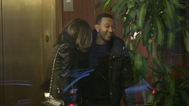 John Legend and Chrissy Teigen in the lobby of Madison Square Garden after the NY Knicks game Celebrity Sightings in New York on in New York City