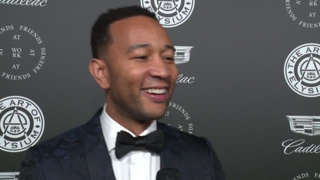 interview john legend at the art of elysium's presents john legend's heaven at barker hangar on january 06 2018 in santa monica california - barker hangar stock videos & royalty-free footage