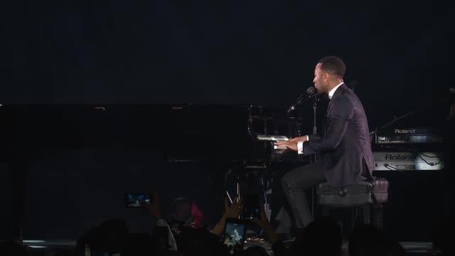 PERFORMANCE John Legend at The Art Of Elysium's Presents John Legend's HEAVEN at Barker Hangar on January 06 2018 in Santa Monica California