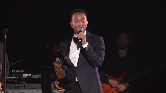SPEECH John Legend at The Art Of Elysium's Presents John Legend's HEAVEN at Barker Hangar on January 06 2018 in Santa Monica California