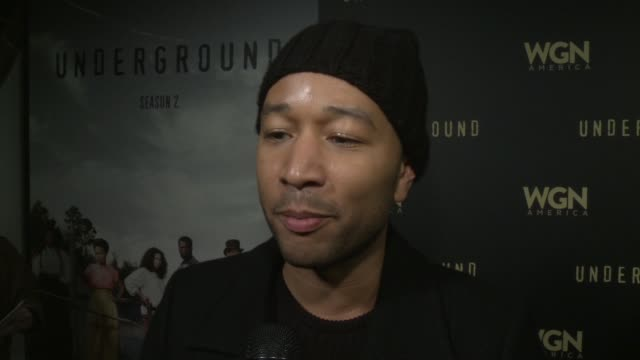 stockvideo's en b-roll-footage met interview john legend on the show season 2 and the women's march at wgn america and john legend celebrate season two of the hit series underground at... - sundance film festival