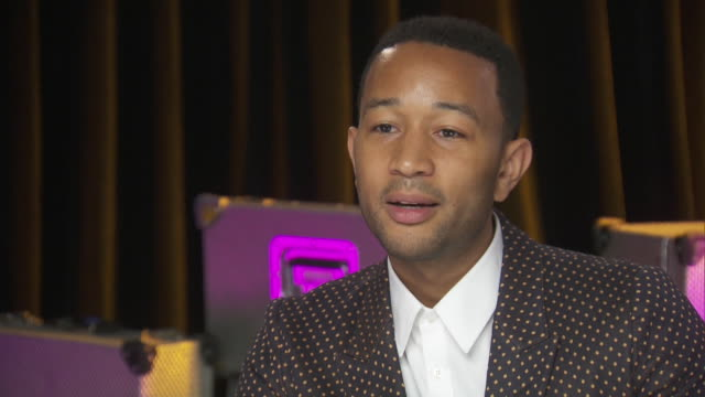 john legend talks about women who have inspired him, such as mom, while backstage at the chime for change benefit concert for women's rights around... - human rights or social issues or immigration or employment and labor or protest or riot or lgbtqi rights or women's rights stock videos & royalty-free footage