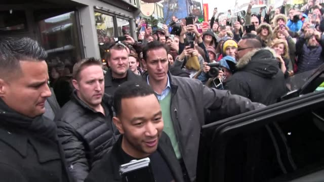 John Legend with fans on Main Street at Celebrity Sightings at Sundance Film Festival on January 23 2016 in Park City Utah