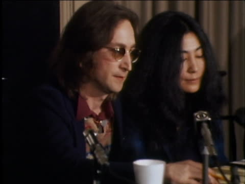 john lennon and yoko ono say that their feelings for the united states have not changed, even after an ins order for johns deportation. - 1973 stock-videos und b-roll-filmmaterial