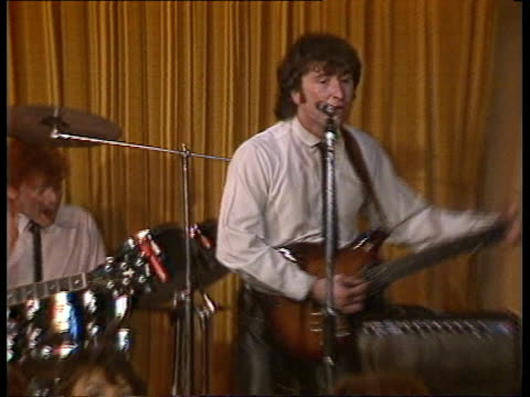 john lennon film preston cms gary gibson singing pull out to people dancing as his group playscas ex eng/granadatx 6385/nao - john lennon stock videos and b-roll footage