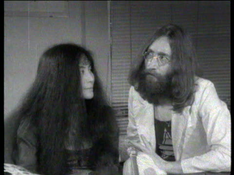 John Lennon interviewed about 'howling' form of expression people getting together and gigging and howling / Yoko Ono interviewed about howling /...