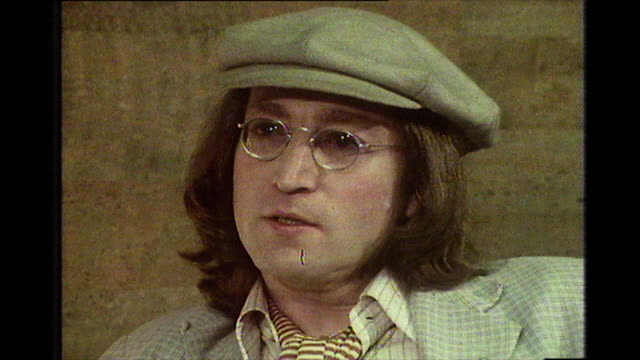 john lennon speaking in 1975 about how he has always been a little loose and feels fed up of the media focus on him - john lennon stock videos and b-roll footage